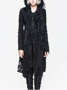 Gothic Black Tassel Long Irregular Hem Long Sleeve Hooded Thin Coat