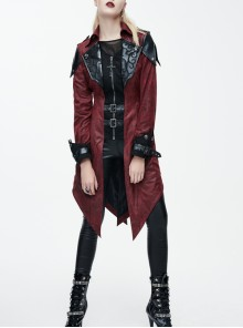 Gothic Red PU Leather Hooded Rivet False Two Pieces Windbreaker