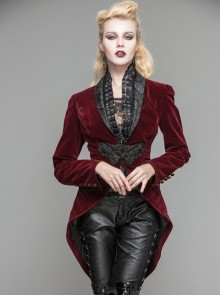 Gothic Red Or Black Suit Collar Slim Short Jacket