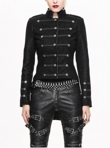 Gothic Stand Collar Black Slim Punk Short Jacket