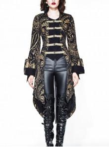 Gothic Punk Vision Golden Slim Long Style Standing Collar Coat