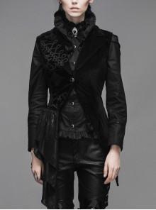 Goth Punk Black Stitching Medium Length Style Asymmetric Hem Vest