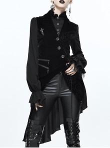 Gothic Punk Fake Two-pieces Asymmetric Hem Black Jacket