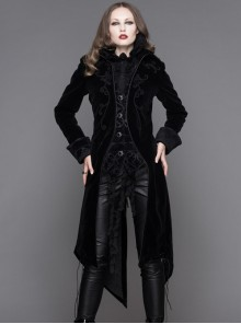 Gothic Delicate Embroidered Medium Length Slim Coat