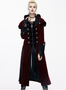 Gothic Red And Black Palace Retro Medium Length Style Coat