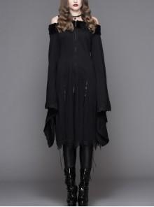 Gothic Pure Color Off Shoulder Trumpet Sleeve Black Lace Coat