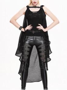 Gothic Punk Irregular Fishing Net Sleeveless Long Style Hooded Shawl Coat