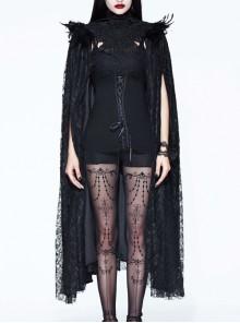 Halloween Costume Gothic Palace Style Black Lace Long Cloak