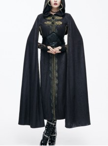 Black Hooded Gothic Long Style Exquisite embroidery Cloak