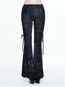 Steampunk Gothic Dark Tree Pattern Gothic Flared Trousers