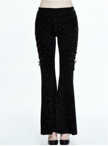 Steampunk Gothic Retro Dark Feather Pattern Ribbons Womens Flare Trousers
