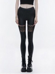Gothic Black Hollow-out Skull Lace Embroidered Women's Leggings