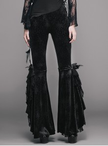 Gothic Black Leisure Feather Ruffle Lace Trumpet Trousers