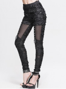 Gothic Black Slim Tattered Design Leisure Trousers