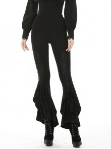 Gothic Elegant Black Lace Frilly Slim Long Trousers