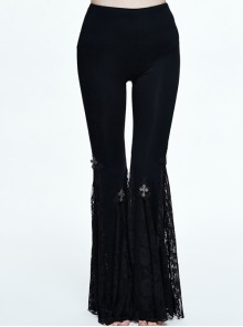 Gothic Black Medium-waist Pure-color Slim Individualized Elastic Flared Trousers