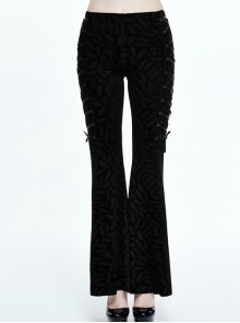 Gothic Black Casual Pants Feather Printing Lace-up High Waist Flared Trousers