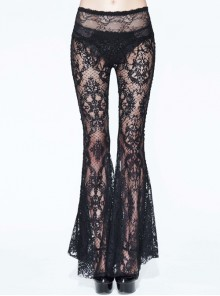 Gothic Black Sexy High Waist Lace Openwork Trousers Perspective Stitching Flared Trousers