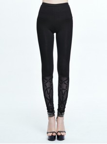 Gothic Pure Black High Waist Grid Lace Stitching Tight Trousers