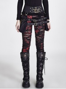 Gothic Retro Broken Mesh Black Or Red Leggings
