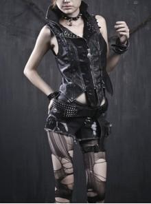 Gothic Black Rivet Elastic Water Wash Chain Denim Shorts