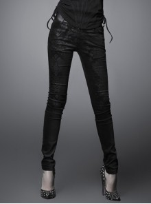 Gothic Printing Black Tight-fitting Elastic Trousers