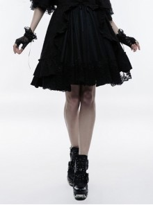 Black Gothic Lolita High Waist Bubble Jacquard Skirt