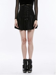 Gothic Punk Black Pleated High Waist Short Skirt
