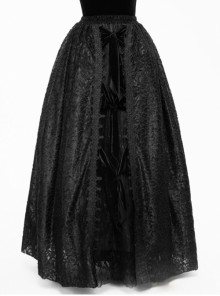 Gothic Black Lace Embroidery Long Ball Skirt