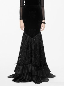 Gothic Velvet Black Floral Pattern Fishtail Skirt
