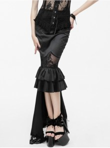 Gothic Black Lace High-Low Fishtail Skirt