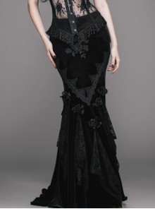 Romantic Gothic Sexy Black Flower Fishtail Skirt