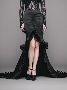 Gothic Slim Black Ruffle Big Fishtail Floor Length Skirt