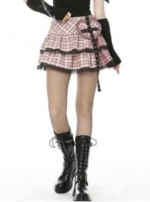Rock Gothic Millennium Hottie Sexy Pink Grid Skirt