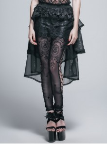 Gothic Black Lace Embroidery Sexy Stitching Short Skirt