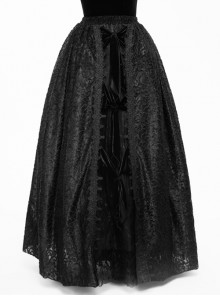 Gothic Black Lace Delicate Embroidery Yarn Skirt Long Pettiskirt