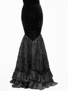 Gothic Black Slim Embroidered Stitching Fishtail Long Skirt