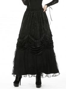 Gothic Black Gorgeous Frilly Maxi Skirt