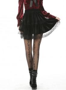 Gothic Daily Easy-matching Black Velvet Short Skirt