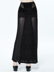 Gothic Black Translucent Sexy Mesh Yarn Long Skirt