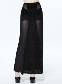 Gothic Black Translucent Sexy Mesh Yarn Long Skirt