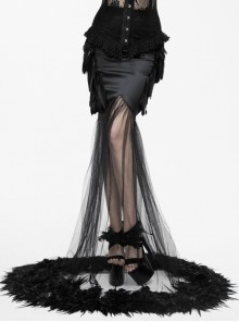 Gothic Party Dress Black Mesh Yarn Slim Half-length Fishtail Feather Hem Skirt