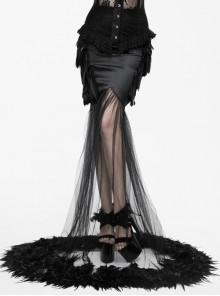 Gothic Party Dress Black Mesh Yarn Slim Half-length Fishtail Feather Hem Skirt