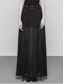 Gothic Punk Black Chiffon Long Style Slit Skirt