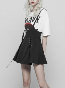 Gothic Black Loose Lace-up Sling Short Skirt