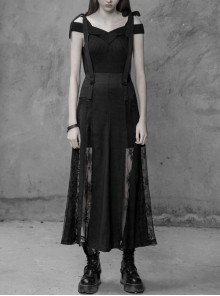 Looming Black Lace Design Gothic Sexy Long Skirt