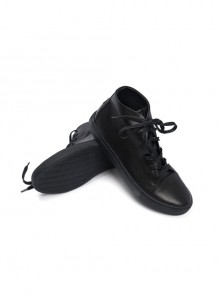 Black Leather Anti-war Embroidery Women's High Upper Casual Shoes