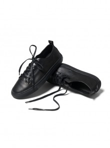 Black Leather Embroidered Low Upper Men's Casual Shoes