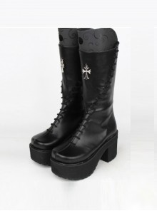 Gothic Black Cross Rivet PU Leather Punk High Heel Boots