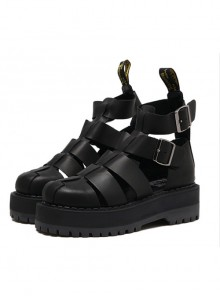 Punk Gothic Pure Black Thick Soles Harajuku Style Roman Sandals